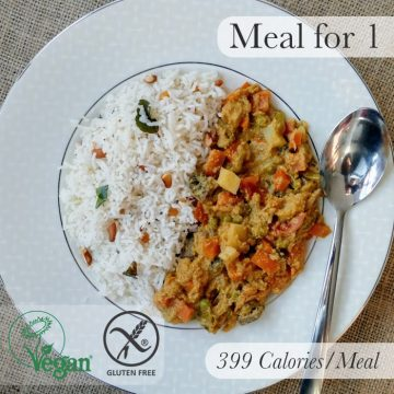 Vegetable Salna with Coconut & Cashew Rice